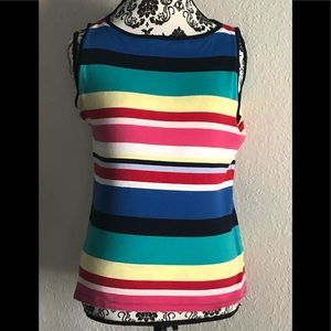 Tops - Talbots Multi Color Stripped Cotton Sleeveless Top